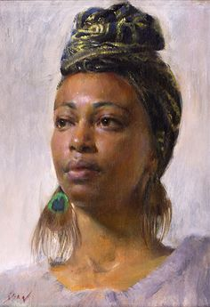 """Study of Nedda"" - Mary Qian, oil on canvas {contemporary figurative art beautiful female head black woman face portrait painting} <3 maryqian.com"