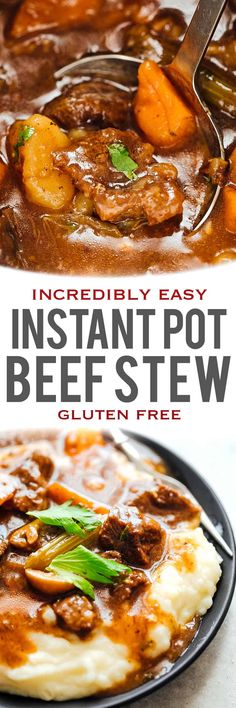EASY INSTANT POT BEEF STEW which is homemade and made from start to finish in an electric pressure cooker. Takes the guesswork out of making a hearty, flavourful beef stew & leaves with you tender, fall apart beef chunks in a thick, tasty brown sauce. Its healthy, can be made gluten free and simple! Easy, fast dinner.
