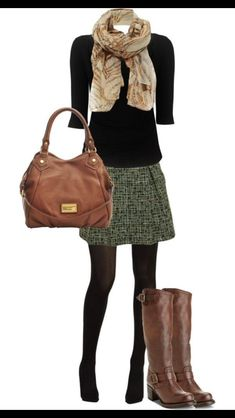 Wool army green skirt, black 3/4 length top, scarf, tights and boots. Perfect Fall outfit. Stitch FIx