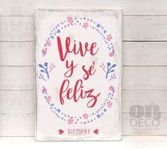 Cartel | Vive y sé felíz siempre - comprar online