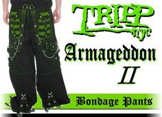 Tripp NYC Armageddon II Bondage Pants (Black / Toxic Green). These pants have it all Chrome Steel Chains metal zippers worn steel accents and super unique black and Toxic Green material. Price $85.00