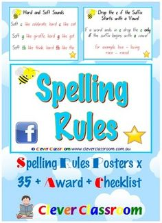 Spelling Rules Posters and Award - 17 pages from Clever Classroom on TpT. Spelling Rules Cards Pack - PDF file 17 page resource file.One of our top sellers on TpT! TpT customers also love our Narrative word wa. Spelling Rules, Spelling Activities, Kids Learning Activities, Teaching Time, Teaching Reading, Teaching Ideas, 3rd Grade Classroom, Classroom Ideas, English Spelling