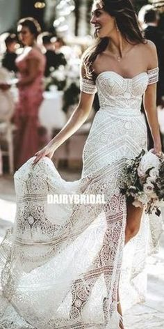 Sweetheart Lace A-line Backless Slit Mermaid Wedding Dresses, FC2629   #wedding #weddingdresses #weddingdress #bridalgown #2019weddingdresses Fairy Wedding Dress, Lace Beach Wedding Dress, V Neck Wedding Dress, Sweetheart Wedding Dress, Classic Wedding Dress, Backless Wedding, Modest Wedding Dresses, Cheap Wedding Dress, Bridal Dresses