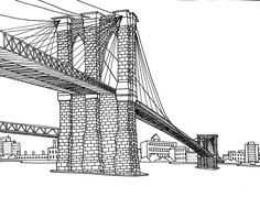 Free coloring page «coloring-adult-new-york-pont-brooklyn». Drawing Brooklin Bridge New York: Each brick can be colored: print, free!