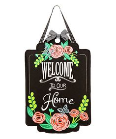 'Welcome To Our Home' Floral Door Hanger