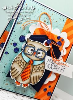 Card by Tara Godfrey. Reverse Confetti stamp set: Oliver Owl. Confetti Cuts; Love Note, Tag Me and Class Act. Congratulations card. Birthday card. Friendship card. Encouragement card. Owl
