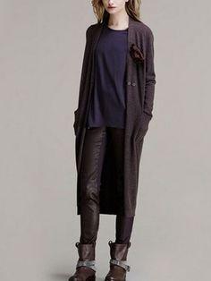 Zanzea® Long Section of Double Pocket Cardigan Long Sleeve Sweater