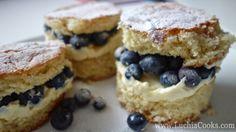 Vanilla, Lemon Curd & Blueberry Mini Cream Cakes From Luchia Cooks