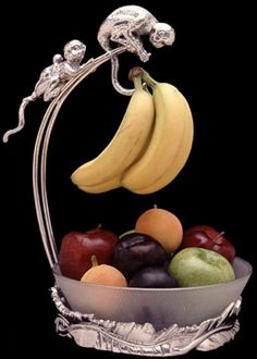 Bring the wild and whimsical antics of monkeys cavorting in the trees with this Safari Monkey Banana Holder with Bowl by Arthur Court Designs. Monkey And Banana, Arthur Court, Paper Towel Holder, Exotic Fruit, Serving Dishes, Kitchen Accessories, Decoration, Cool Gifts, Tableware