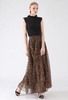 e32b1ef024 Leopard Watercolor Maxi Skirt in Brown - Retro, Indie and Unique Fashion
