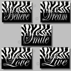 ZEBRA  5X7 WALL ART DECOR PRINTS BLACK AND WHITE