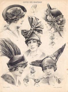 Edwardian fashion plate, hat illustrations