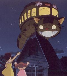 My Neighbor Totoro. The cute is more than balanced by the mysterious cat bus, Totoro, the rain, and soot sprites.