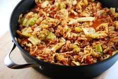 Checkout this amazing Stuffed Cabbage Saute Recipe at LaaLoosh.com! It's a one pot version of traditional stuffed cabbage rolls, that is out of this world.