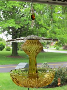 Large amber cut glass bird feeder