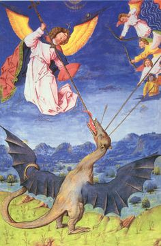 St. Michael and his angels fight Satan in the shape of a wyvern dragon. From the Liber Floridus, a Flemish manuscript from the 15th century.