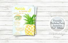 Printable Invitations, Printables, Invitation Ideas, 6th Birthday Parties, Birthday Party Invitations, Rsvp, Pineapple, My Etsy Shop, This Or That Questions