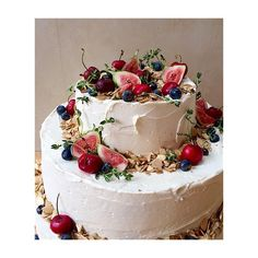 #chocolate #guinness #cake w/ #cherries, berries, herbs & fig #lilyvanilliwedding