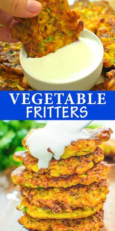 Lunch These Vegetable Fritters are truly the best! Made with zucchini, carrot, and corn, they make a great lunch or snack, and you will not be abl Tasty Vegetarian Recipes, Vegetarian Cooking, Veggie Recipes, Baby Food Recipes, Indian Food Recipes, Diet Recipes, Chicken Recipes, Cooking Recipes, Healthy Recipes