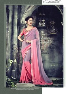 074a1770ce9 Pink and Purple Faux Georgette Embroidered Trendy Saree Designer Silk Sarees