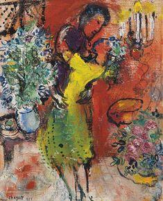 Marc Chagall - Couple au chandelier, 1954