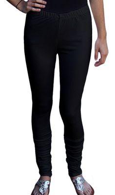 Ayurvastram Women's Cotton Spandex Stretchable Jersey Extra Long Leggings; Black;Medium