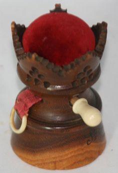 TAPE MEASURE & coquilla PIN CUSHION castle COMBO~~Figural Original ANTIQUE c1800 #handcarved