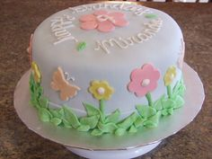 Cute flowers & butterflies cake
