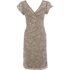 Taupe Lace Shutter Pleat Dress