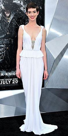 Anne Hathaway: white Prabal Gurung gown with a peplum waist and exposed corset