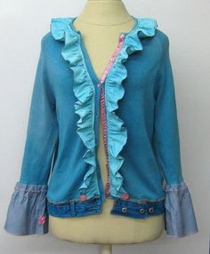 Teal ruffled Reconstructed hand dyed Top by PurpleSageDesignz, $ 39.00 earmarksocial