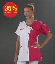 Blouse médicale rose fushia TUN08 www.label-blouse.net