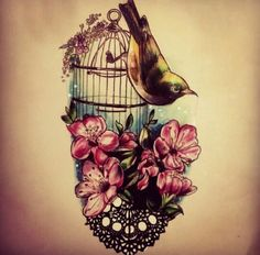 Bird, Cage, Flowers & Lace