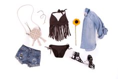 Festival Style: Bikini Outfits | A brown fringe bikini top can double as a shirt for a spring or summer outfit perfect for an outdoor concert, pool party, or beach day.