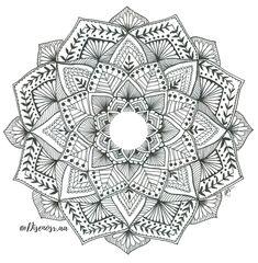 Diseño de mandala en blanco y negro. By: Diseños R.AA
