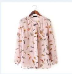 Chic Feather Print Loose Long Sleeve Chiffon Blouse