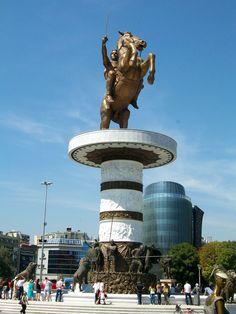 Statue of Alexander the Great, Skopje Square, Skopje, Macedonia. Albania, Bulgaria, Macedonia Skopje, Travel Around The World, Around The Worlds, Republic Of Macedonia, Equestrian Statue, Lake Resort, Great Hotel