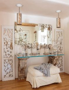 SANTA FE SANCTUARY — Fifi O'Neill Inspired Lifestyle Designs Santa Fe Home, New Mexico Homes, Bedroom Fireplace, Beveled Mirror, Weathered Wood, White Walls, Clear Glass, Decor Styles, Family Room