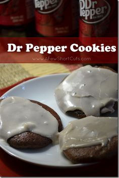 Dr. Pepper cookies. Chocolate cake mix, 6 oz. (Diet) Dr. Pepper and 1 c. crushed pecans. Bake 350 for 10 min. Make glaze from 2 c. powdered sugar and 2 T. Dr. Pepper.  How easy is that?