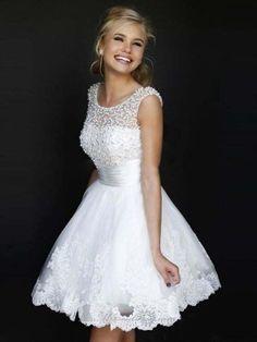 White A-line/Princess Juweel Mouwloos Pearls Korte Broek/Mini Tule Jurkje