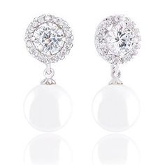 18k White Gold Plated Round Shell Pearl and Solitaire Cubic Zirconia Halo Earrings (10.5-11mm, 1.50 carats)