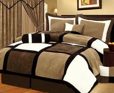 This Queen size Patchwork Comforter set in Brown White Black would be a great addition to your home. Micro suede patchwork comforter, 1 Comforter: 1 Bed skirt drop, 2 Cushion 1 Neck roll 2 Shams Queen size Patchwork Comforter set in Brown White Black 100 King Size Comforter Sets, King Size Comforters, Queen Size Bedding, Bedding Sets, Brown Comforter, Crib Sets, Camas King, Bed In A Bag, Bed Spreads