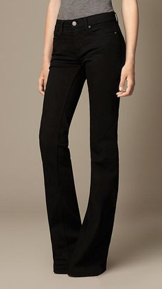Flare Fit Regular-Rise Black Jeans | Burberry