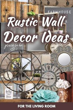20 Rustic Wall Decor Ideas for the Living Room - Home Decor Bliss Primitive Wall Decor, Country Wall Decor, Rustic Wall Decor, Rustic Walls, Wall Art Decor, Farmhouse Decor, Primitive Country, Primitive Bedroom, Primitive Homes