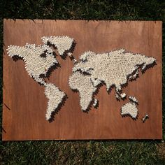 World map string art - look closely and you'll see colored dots over Kuwait, Charleston, and Charlotte. This was custom ordered to represent a family's cross cultural heritage. Texture Art, Texture Painting, Magnolia Design, Oversized Wall Art, Diy Artwork, Cool Art Projects, Abstract Wall Art, Types Of Art, Wood Art