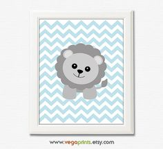 Light blue and grey lion nursery art print  8x10 by VegaPrints