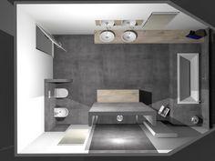 (De Eerste Kamer) Strakke badkamer met stijlvolle waskommen op maatwerk blad. De rustige kleurstelling van deze badkamer benadrukt de pure vormen van het sanitair. Het royale bad is onder het schuine dak aan de achterzijde van de badkamer geplaatst. Een mooi detail is het doorlopende, maatwerk wastafelblad. Het wastafelblad en het badkamermeubel zijn van massief eiken. Het hout brengt warmte en sfeer in de badkamer. Bidet en het toilet passen qua ronde vormgeving uitstekend bij de waskommen…