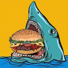 Illustration of Hungry shark eating a Burger. Pop art retro vector illustration kitsch vintage drawing vector art, clipart and stock vectors. Retro Vector, Vector Art, Food Illustrations, Illustration Art, Food Cartoon, Restaurant Concept, Vintage Drawing, Kitsch, Shark