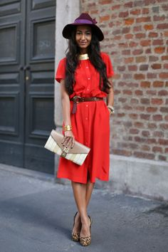 Street Style Inspiration From Milan Fashion Week : red and purple play nicely together.