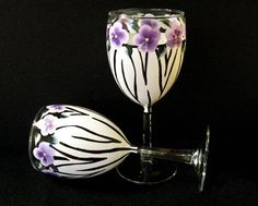 Hand Painted Zebra Wine Glasses by Lauriesnwcrafts on Etsy, $20.00